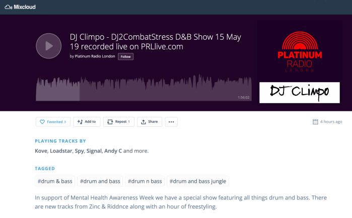 dj climpo radio show on platinum radio london featuring riddnce new singles foray and lightsplitter drum and bass